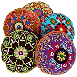 Indian Cushion Covers round cushions pillows Ethnic Pillow case Mirror work Cushion set 5 Decorative Cushion cover Piece Pillows Covers Round Set of 5 By Rajrang