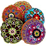 [Sponsored]Indian Cushion Covers Round Cushions Pillows Ethnic Pillow Case Mirror Work Cushion Set 5 Decorative Cushion Cover Piece Pillows Covers Round Set Of 5 By Rajrang
