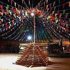 Idea Regalo - EDATOFLY 240M Colorate Bandiera di Pennant 450Pcs Nylon Bandierine Triangolari Decorazione Bandiere per Festa Natale Compleanno Matrimonio Cerimonio Giardino Esterno