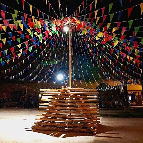 kette Mehrfarbig Wimpel mit 200 Stück Dreieck Flaggen Nylon Stoff Bunting Banner für Geburtstag, Hochzeit, Outdoor, Indoor Aktivität, Party, Garten Dekoration ()