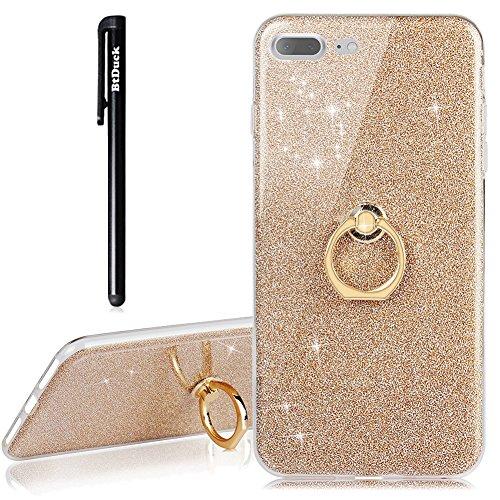 iPhone 8 Plus Hülle,BtDuck Slim Matt Dünn Silikon Hülle mit Metall Ring Handyhalterung Auto Magnet Bumper Case Schutzhülle Smartphone Halter Ständer Ringhalter Tasche Handyhülle iPhone 7 Plus/8 Plus (Tasche-ständer Metall)