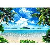 Fototapete Strand Meer Palmen 396 x 280 cm Vlies Wand Tapete Wohnzimmer Schlafzimmer Büro Flur Dekoration Wandbilder XXL