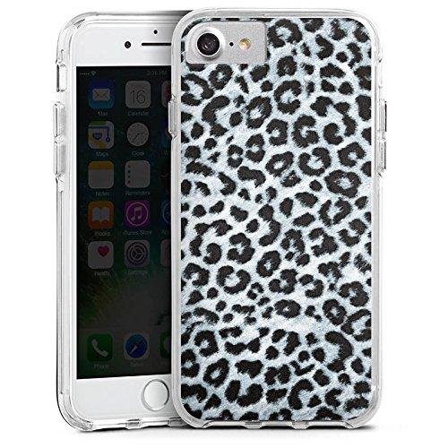 Apple iPhone 7 Plus Bumper Hülle Bumper Case Glitzer Hülle Leopard Fell Grau Animal Print Bumper Case transparent