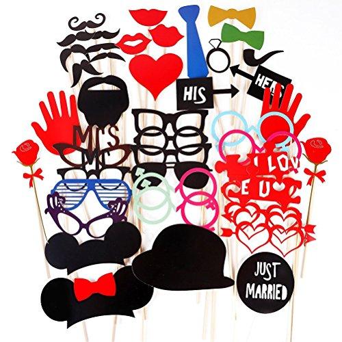 ROSENICE Foto Stand Puntelli Colorato Fai da te Vetri Divertenti Baffi Labbra Rosse Cravatte Cappelli (Natale Puntelli Photo)