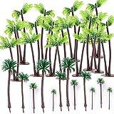 24 Stück Palmen Mini Palme Plastik Kokosnuss Modell Bäume Mini Bonsai Landschaft Ideenwelt für Micro Landschaft Miniatur Sommer Strand Deko Dekosand Mini Liegestuhl Sonnenschirm Strandkorb Deko