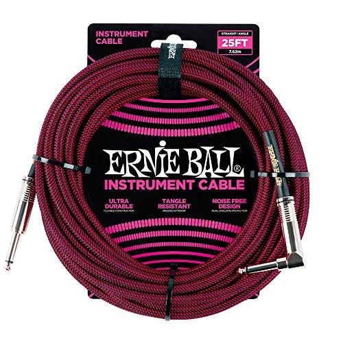 Winkel Ball (Ernie Ball 25 'geflochten gerade / Winkel Instrumentenkabel - schwarz / rot)