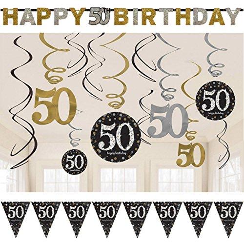 Neu: 39-tlg. Deko-Set * Sparkling Celebration * für Den 50. Geburtstag | Dekoration für die Decke | Wimpelkette + Girlande + Deko-Wirbel | Party Fünfzig (Geburtstag Fünfzig Dekorationen)