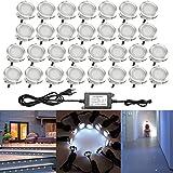 QACA 30er LED Einbauleuchten Bodeneinbaustrahler Klatweiß 6500K Deckenspot Einbaustrahler Deckenleuchte Wasserdicht IP67 Einbaulampe 0.6W Ø30mm Außenleuchten für Küche Garten Treppen Balkon Terrasse