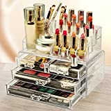 vmore Cosmetic Make Up Kits Holder Clear Acrylic Jewellery Organiser Table Stand for Keeping Your Lipsticks, Nail Polish, Makeup Brush Set & Jewellery