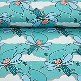Stoff Baumwolljersey Jersey Elfen Fairys mint 50cm x 150cm