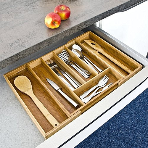 Taylor & Brown® Adjustable Extendible Bamboo Cutlery Tray with 5 to 7 Compartments, Size: 5 x 48.5 x 37cm, Drawer Insert, Natural Brown