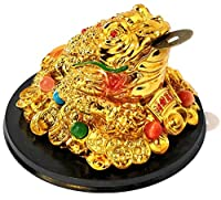 ITEM DESCRIPTION: Beautiful Golden Large Size (5.25 inches) Chinese Feng Shui 3 legged Frog, Toad with lucky coin for wealth, money, prosperity and abundance in life. This Frog is sitting on huge treasure of gold coins and is beautifully jeweled with...