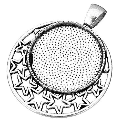 Perlin - 8stk Fassungen Fassung mit Stern Motive Silber Metall Medaillons Anhänger für 25mm Runde Cabochon-Fassung Rahmen Medaillons DIY Basteln M457 x2