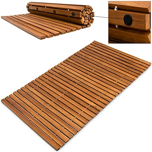 Alfombra de baño de madera de acacia pre-aceitada anti-deslizante - Medidas: 80 cm x 50 cm