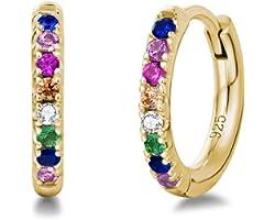 Orecchini a Cerchio Piccoli per Donna in Argento Sterling 925 Placcato Oro Bianco/Gialla/Rosa con Zirconia Cubica - Diametro: