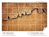 Graz Design 761675_15x20_60 Fliesenaufkleber Baum/Holz-Optik für Kacheln   Wand-Deko für Bad/Küchen-Fliesen (Fliesenmaß: 15x20cm (BxH)//Bild: 90x60cm (BxH))