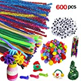 Runfon 200pcs Pompoms coloré, 100pcs Auto-Collant Wiggle Googly Eyes, 300pcs Tiges de Chenille pour Les Fournitures d'art Artisanat DIY