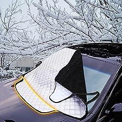 FREESOO Pare-Brise Couverture de Voiture Imperméable Repliable Protection Magnétique pour Pare-Soleil Anti Givre Pare-Brise Avant pour Voiture SUV Anti UV Pluie Givre Glace et Neige 190cm*126 * 157cm