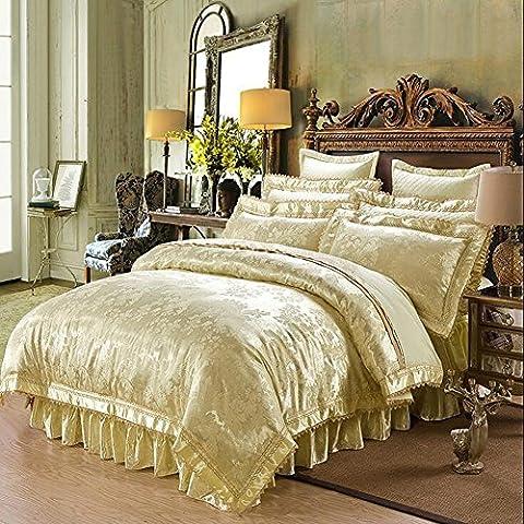 MeMoreCool Top Grade ricamo di nozze stile europeo Luxury 100% raso di cotone, copripiumino, Jacquard (Pizzo Beige Gonna)