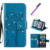 EMAXELERS HTC One M8 Hülle Wishing Tree Muster PU Leder Flip Cover Wallet Case im Handyhülle Ledertasche Case Tasche mit Standfunktion und Karte Halter für HTC One M8,Blue Wishing Tree with Diamond