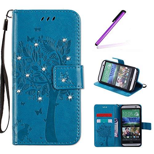 EMAXELERS HTC One M8 Hülle Wishing Tree Muster PU Leder Flip Cover Wallet Case im Handyhülle Ledertasche Case Tasche mit Standfunktion & Karte Halter für HTC One M8,Blue Wishing Tree with Diamond