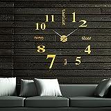HUANGYAHUI Wanduhr Wohnzimmer Wanduhr Ultra Große Wände Einfügen Startseite Diy Dekorative Digitale Uhr Wand, Gold