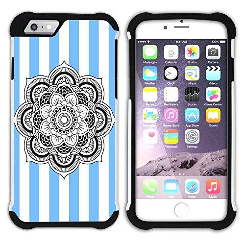 Graphic4You Mandala Blume Streifenmuster (Lila) Hart + Weiche Kratzfeste Hülle Case Schale Tasche Schutzhülle für Apple iPhone 6 Plus / 6S Plus Schwarz