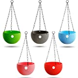 Kraft Seeds Hanging Planter Euro Elegance Round Solid Look and Feel Pots for Home & Balcony Garden 17.5cm Diameter (Pack of 5