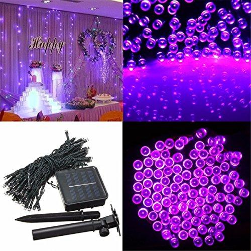 SOLMORE 17M Guirlande Solaire 100 LED Étanche Extérieur String Light Déco lumineux Éclairage Jardin Pelouse Cour Balcon Fête Soirée Mariage (Violet Lumière)