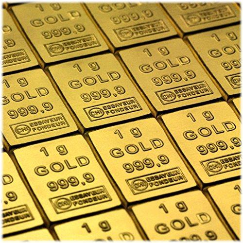 50 Gramm / 50g Gold bestehen aus 50x 1g (1 Gramm) Goldbarren 999,9 Feingold / Minibarren / Mini Goldbaren / Tafelbarren / Gold Barren / Tafel - 24 Karat - teilbar - in CombiBar Blister