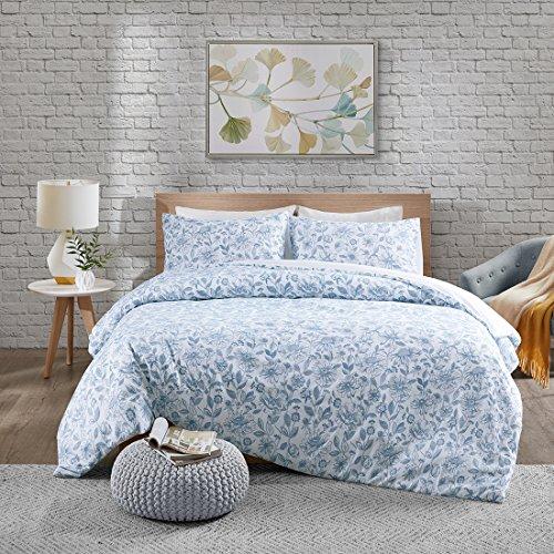 URBAN HABITAT Halsey Floral Bettwäsche Set in Stickerei-Look Bettgarnitur Blütenmuster Modern Doppelbett, navy, 200x200cm + 50x75cm (Blue King-size-schlafzimmer-set)
