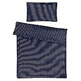 Sugarapple Kinderbettwäsche, 2 tlg. Set mit Deckenbezug 135x200 cm und Kissenbezug 80x80 cm, 100% Baumwolle mit Reißverschluss, dunkelblau mit weißen Sternen