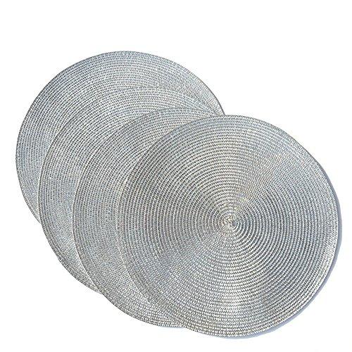 HANGQI Napperons de table brillants en spirale ronde, ensemble de 4, Argent