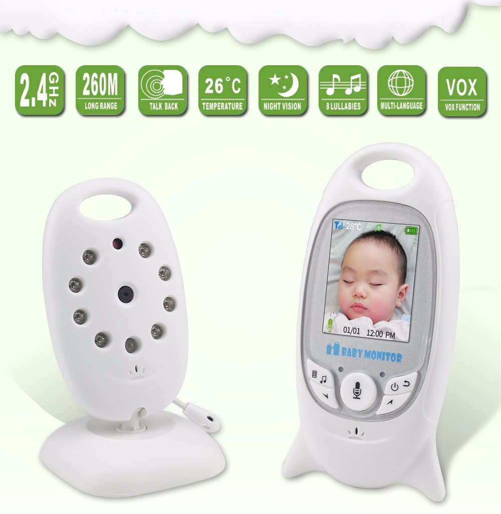 LifetSmart Baby Monitor, 2.4 Inch TFT LCD Screen Wireless Video Security Camera with Two-Way Audio and Night Vision, Temperature Monitoring, Built-in 4 Lullabies for Baby/Old/Pet (SP601) LifetSmart 2.0in high-contrast screen, with LCD backlight.8 high-intensity infrared LEDs for good night vision. Automatical pairing, plug and play, very convenient.Longer effective distance connection, 160ft indoor and 850ft outdoor. Two way audio monitoring, you can talk to your baby whenever and wherever you are.Built-in 8 lullabies to help baby to sleep soon. 1