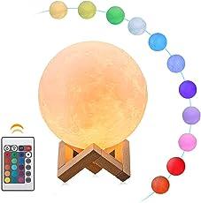 12.3cm RGB Mondlampe 3D Nachtlicht, B-right 16 Lichtfarben Nachtlampe mit Fernbedienung, USB aufladbar Mondleuchte Stimmung Licht Dekoleuchte Mondlicht für Kinderzimmer Schlafzimmer Geschenk