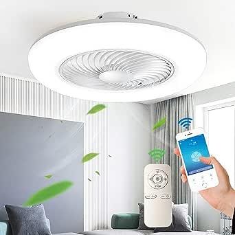 ,Bianca Classe Energetica A ++ Ventilatore A LED A Soffitto Regolabile Con Illuminazione E Dimmerazione Telecomando Ultra-Silenzioso Risparmio Energetico Soggiorno Camera Da Letto Lampada Per Asilo