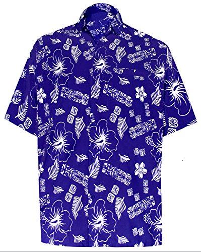 LA LEELA männer Hawaiihemd Kurzarm Button Down Kragen Fronttasche Beach Strand Hemd Manner Urlaub Casual Herren Aloha Königsblau_504 1XL Likre 1904 - Button-down-vintage-shorts