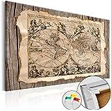 Novedad! Tablero de corcho 120x80 cm - 1 Parte - Cuadro sobre corcho Mapamundi Mundo Continente Madera k-C-0036-p-a 120x80 cm B&D XXL