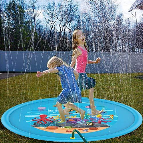 Augproveshak 170cm Sprinkle und Spritzwasser Spielmatte, aufblasbare Sprinklerauflage, Sommerspray Spielzeug Perfekt für Kinder/Hund/Katze/Haustiere und Outdoor Familienaktivitäten