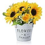 BEANKI Fleurs Artificielles, Tournesol Plante Artificielle avec Pot en Métal, Mini Artificielle Plante Decoration pour Extéri