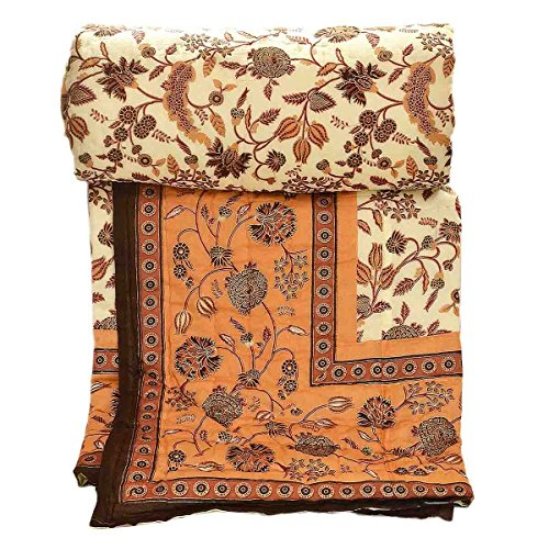 Stole & Yarn Brown Round Flower Single Bed Soft Indian...
