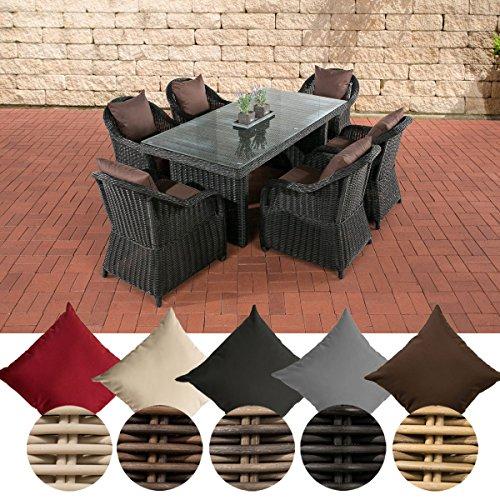 CLP Polyrattan Gartengarnitur LAVELLO I Sitzgruppe mit 6 Sitzplätzen I Pflegeleichte Gartenmöbel mit Aluminium-Gestell I In verschiedenen Farben erhältlich Bezugfarbe: Terrabraun, Rattan Farbe: Schwarz