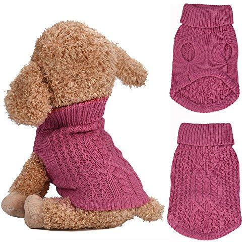 Puppy Pullover, Kleine Hunde Niedlichen Kostüm Weiche Warme Haustier Kleidung Doggy Outfit Chihuahua Pullover(Hot pink, S)