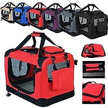 WOLTU HT2026rt Hundebox Hundetransportbox Auto Transportbox Reisebox Katzenbox mit Hundedecke faltbar 60x42x42cm, Rot
