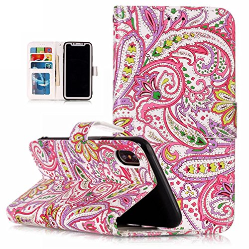 inShang Custodia per iPhone X 5.8 inch con design integrato Portafoglio, iPhoneX 5.8inch case cover con funzione di supporto. Pepper flowers