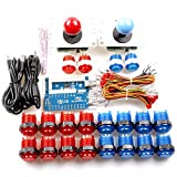 Hikig 2 Jugadores LED Arcade Game DIY Kit 2x USB Encoder + 2x Joystick (4/8 Way) + 20x LED Botón para Raspberry Pi 3 Retro Games, PC MAME Arcade Games, PS3 Control Support Todos los sistemas Windows - Color Rojo + Azul