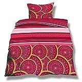 CelinaTex aqua-textil 0500048 Living 2-tlg. Bettwäsche 4-Jahreszeiten 155 x 220 cm Mikrofaser Bettbezug OEKO-TEX 2 teilig Athen rot pink abstrakt Streifen