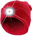 Lunartec Mütze LED: Rote Strickmütze mit weißen (vorne) & roten (hinten) LEDs (Wintermütze)