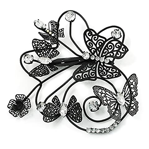 Oversized Black Crystal Filigree Flower And Butterfly Crystal Brooch (Catwalk - 2014)