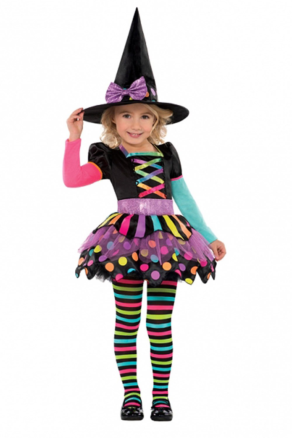 New Amscan Kids Halloween Miss Matched Witch Girls Fancy Dress ...